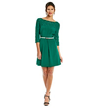 Jessica Simpson Pleat Front Lace Dress