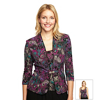 Alex Evenings Jacquard Twinset with Brooch Closure