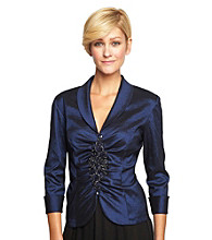 Alex Evenings Center Ruched and Beaded Blouse