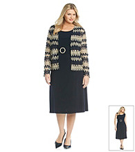 Jessica Howard Plus Size Crochet Jacket Dress
