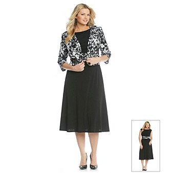 Jessica Howard Plus Size Print Jacket Dress