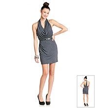 City Triangles® Juniors' Gunmetal Halter Dress