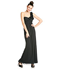 City Triangles® Juniors' Black One Shoulder Gown