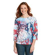 Breckenridge 3/4 Sleeve Crew Neck Paisley Sublimation Tee