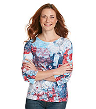 Breckenridge Petites' 3/4 Sleeve Crew Neck Paisley Sublimation Tee