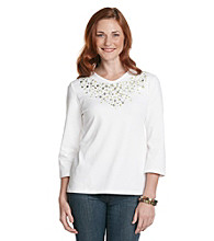 Breckenridge 3/4 Sleeve Embellished V-Neck Tee