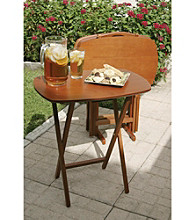 Lipper International Set of 4 Cherry Finish TV Tray Tables