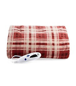 LivingQuarters Red Plaid Heated Micro Plush Throw