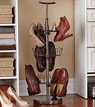LivingQuarters 3-Tier Black Revolving Shoe Rack