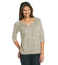Relativity® Banded Bottom Y-Neck Top