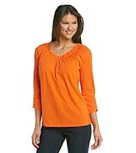 Relativity® Ruched Soft V-Neck Top