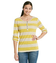 Relativity® Stripe Henley Slub Top