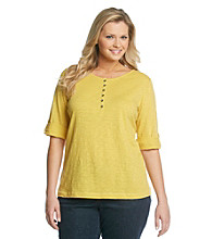 Relativity® Plus Size Casual Slub Henley