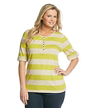 Relativity® Plus Size Casual Stripe Slub Henley