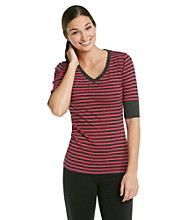 Calvin Klein Performance Striped Elbow Sleeve Tee