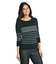 Cable & Gauge® Contrast Stripe Boatneck Top
