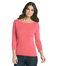 Jeanne Pierre® Cable Boatneck Sweater