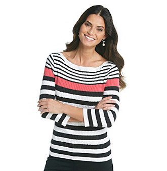 Jeanne Pierre® Stripe Cable Boatneck Sweater