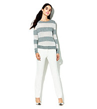 Vince Camuto Long Sleeve Lurex Stripe Sweater