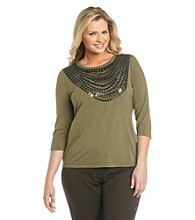 Laura Ashley® Plus Size Sequin Necklace Tee