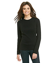 Jones New York Signature Petites' Long Sleeve Crew Neck Tee Solid