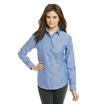 Jones New York Signature® Petites' Woven Long Sleeve Stripe Shirt