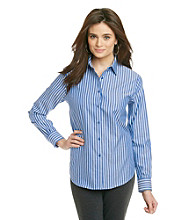 Jones New York Signature Petites' Woven Long Sleeve Stripe Shirt