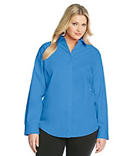 Jones New York Signature Plus Size Long Sleeve Solid Color Shirt