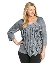 Notations® Plus Size Ruffled Top