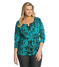 AGB Plus Size Printed Cardigan Sweater
