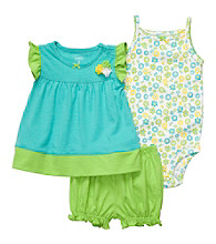 Carter's® Baby Girls' Turquoise/Green 3-pc. Floral Set