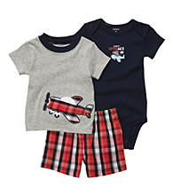 Carter's® Baby Boys' Navy/Red Plaid 3-pc. Airplane Set