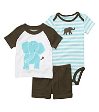 Carter's® Baby Boys' Turquoise/Brown 3-pc. Elephant Set