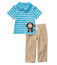 Carter's® Baby Boys' Turquoise/Khaki 2-pc. Monkey Polo Set