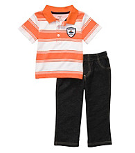 Carter's® Baby Boys' Orange 2-pc. Striped Polo Set
