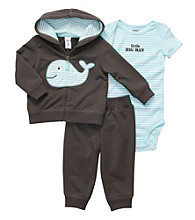 Carter's® Baby Boys' Charcoal/Blue 3-pc. Whale Hoodie Set