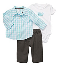 Carter's® Baby Boys' Blue/Grey 3-pc. Checked Woven Set