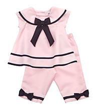Rare Editions® Baby Girls' Pink Nautical Capri Set