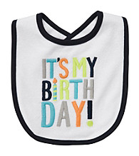 Carter's® Baby Boys' White/Navy Birthday Bib