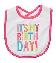 Carter's® Baby Girls' White/Pink Birthday Bib