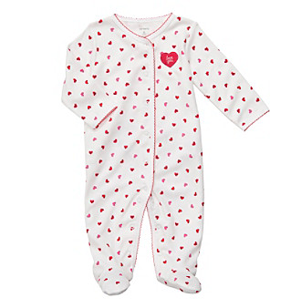 Carter's® Baby Girls' White/Red Heart Snap Footie
