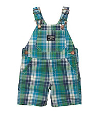 OshKosh B'Gosh® Baby Boys' Green/Navy Plaid Poplin Shortall