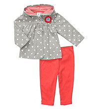 Carter's® Baby Girls' Grey/Coral 2-pc. Polka-Dot Cardigan Set