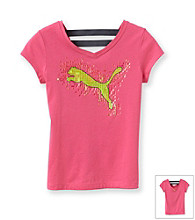 PUMA® Girls' 7-16 Pink Elastic Back V-Neck Tee