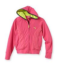PUMA® Girls' 7-16 Pink Striped Zip-Up Form Hoodie