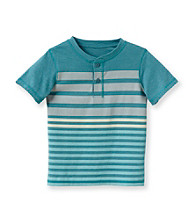 Ruff Hewn Boys' 2T-7 Short Sleeve Striped Heather Graphic Henley
