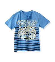 Ruff Hewn Boys' 8-20 Blue Lotus Short Sleeve Striped Graphic Henely