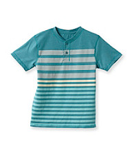 Ruff Hewn Boys' 8-20 Short Sleeve Striped Heather Graphic Henely