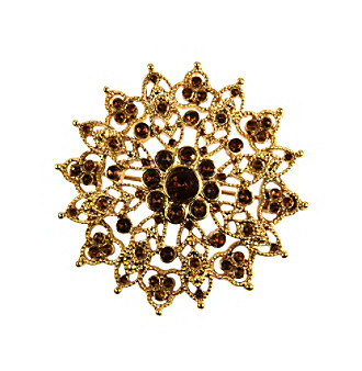 Napier® Goldtone and Topaz Floral Pin In Gift Box