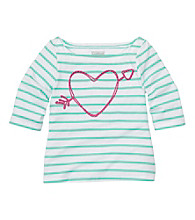 OshKosh B'Gosh® Baby Girls' Blue Striped Long Sleeve Heart Tee